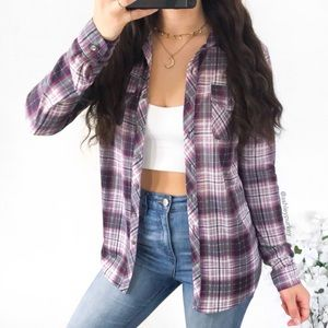 purple and gray lightweight flannel top